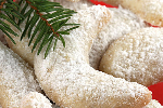 Kourabiedes with Almonds (Traditional Greek Christmas cookies with icing sugar)